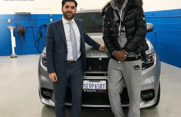 Stefano Serpa greets the NBA's Andrew Wiggins at the Boutique.